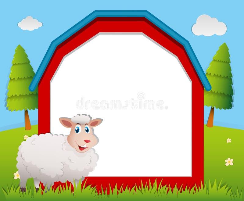 Projeto do quadro com carneiros brancos ilustração royalty free