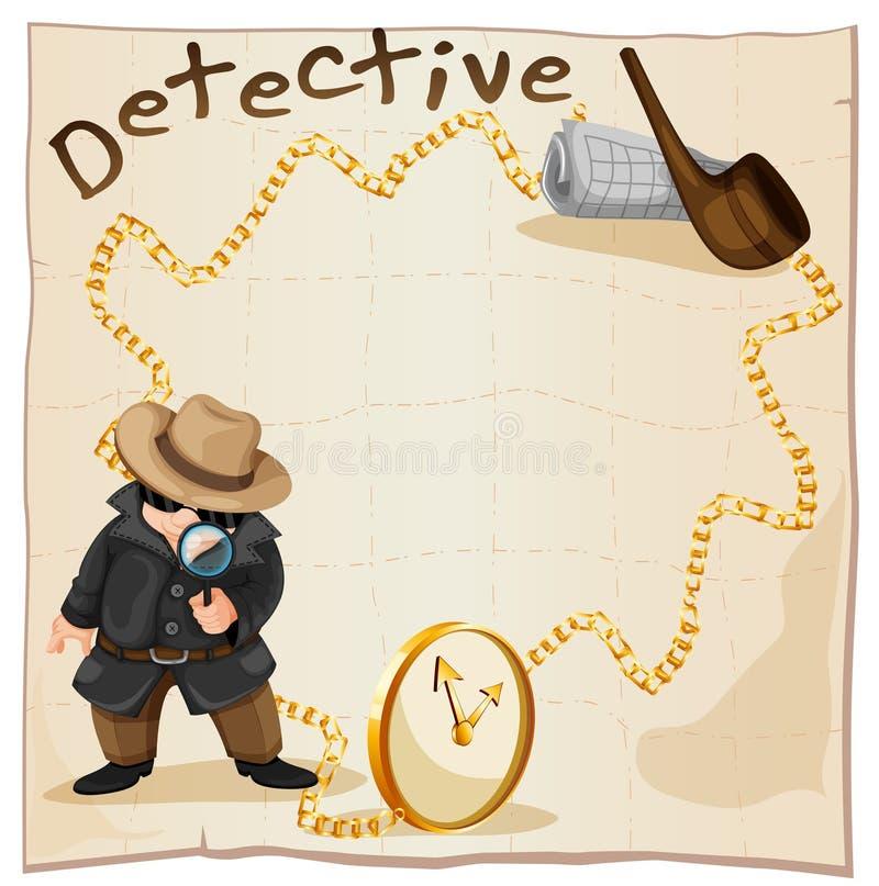 Projeto do quadro com detetive e tubulação de fumo ilustração stock