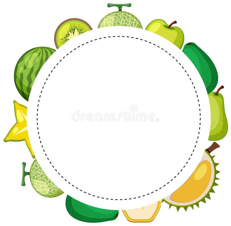 Projeto do quadro com frutos com pele verde ilustração do vetor