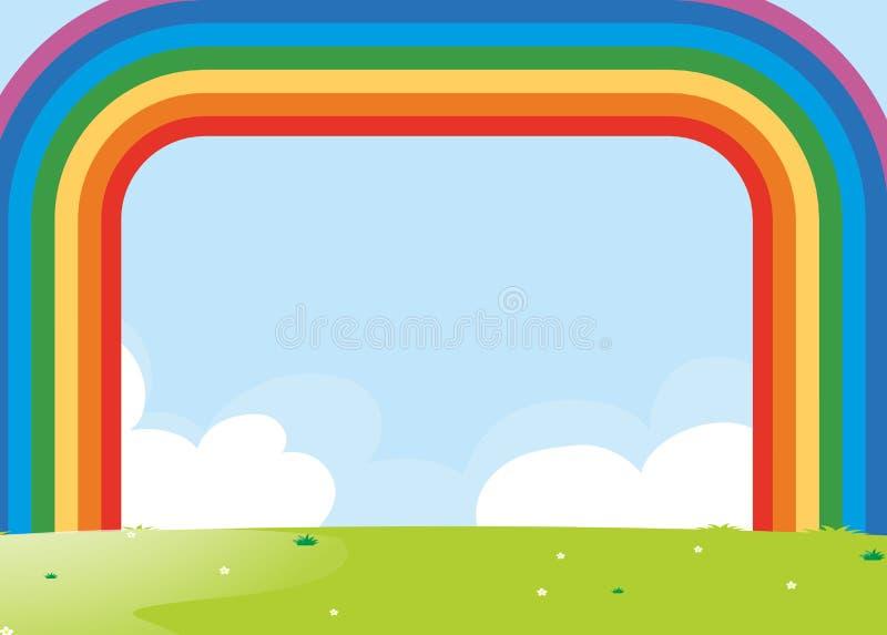 Projeto do quadro com o arco-íris sobre o campo ilustração do vetor