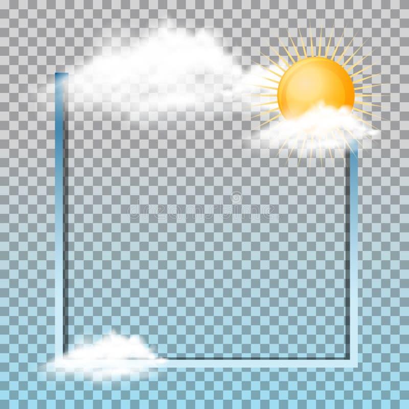 Projeto do quadro com o sol nas nuvens ilustração royalty free