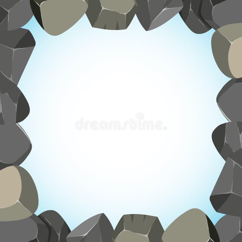 Projeto do quadro com rochas e céu ilustração royalty free