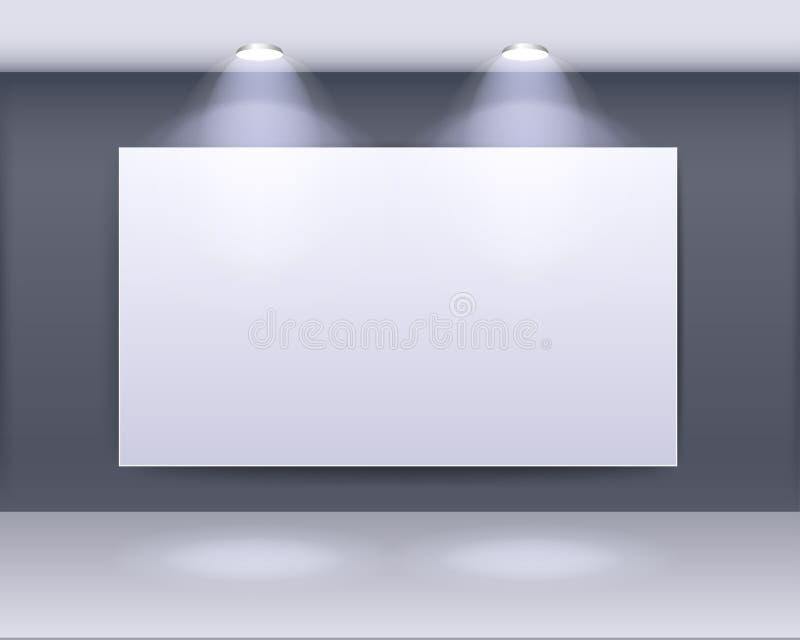 Projeto do quadro de galeria da arte com projectores ilustração do vetor