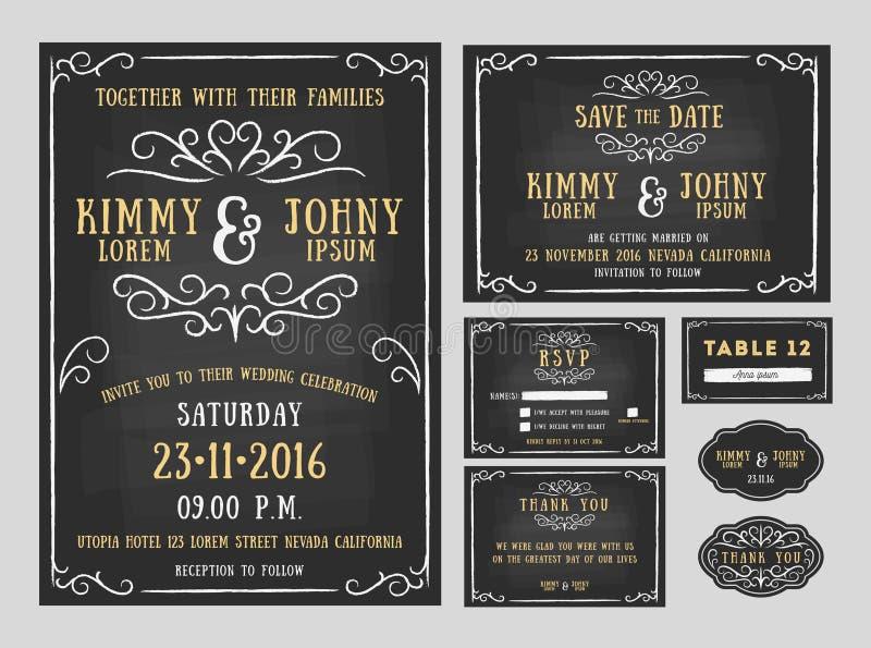 Projeto do quadro do convite do casamento com linha dos flourishes ilustração do vetor