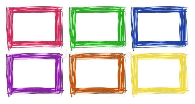 Projeto do quadro em seis cores ilustração stock