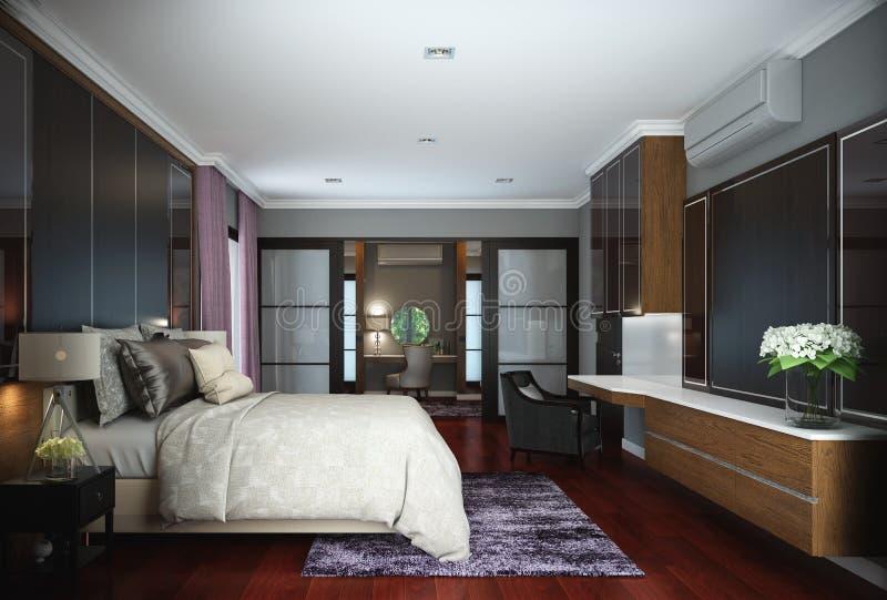 Projeto do quarto, interior do estilo contemporâneo moderno ilustração do vetor