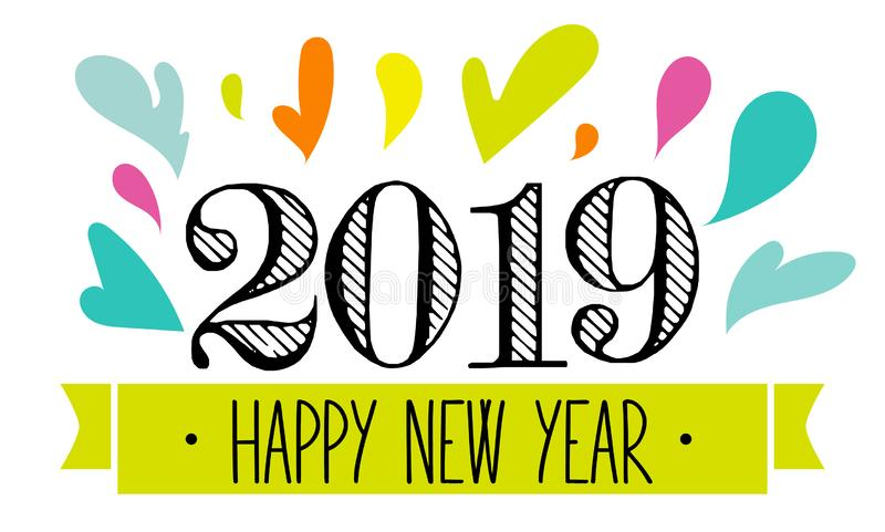 2019, projeto do respingo do ano novo feliz ilustração stock