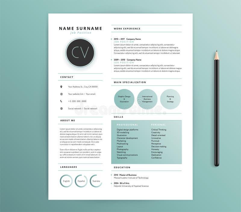 Projeto do resumo/molde do CV - cor verde da sensação da natureza - vector s ilustração royalty free
