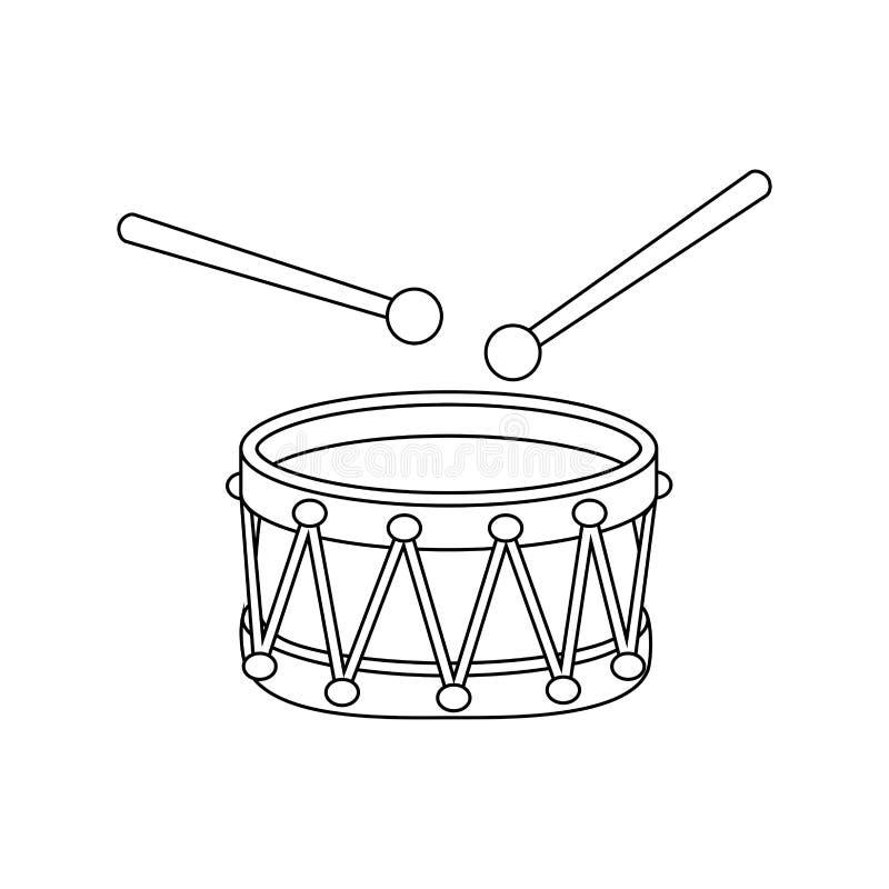 Projeto do símbolo do ícone dos desenhos animados do esboço do cilindro isolado no fundo branco imagem de stock