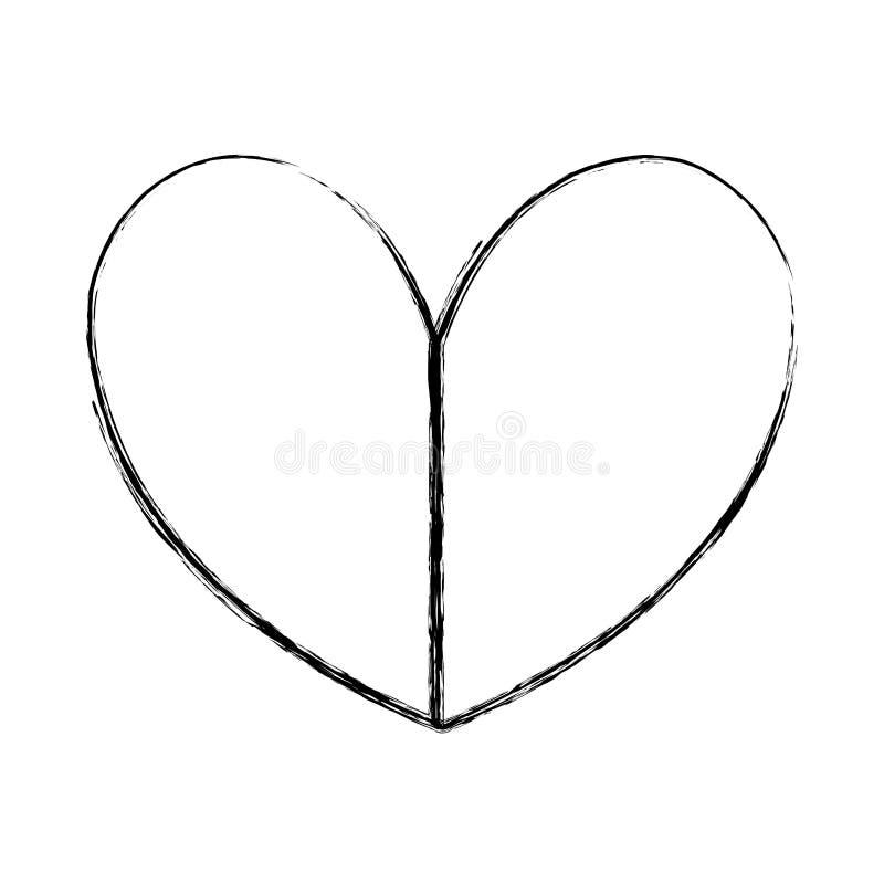 Projeto do símbolo do amor do coração da beleza do Grunge ilustração royalty free