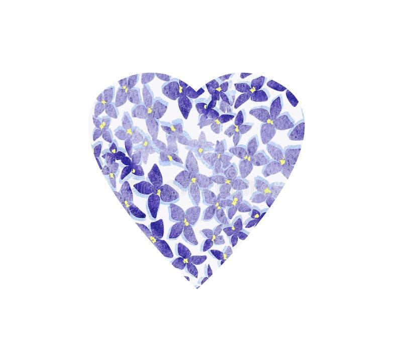 Projeto do símbolo da forma do coração Os corações coloridos imprimem com o lilás para o papel, matéria têxtil, cartão Fundo do d ilustração stock
