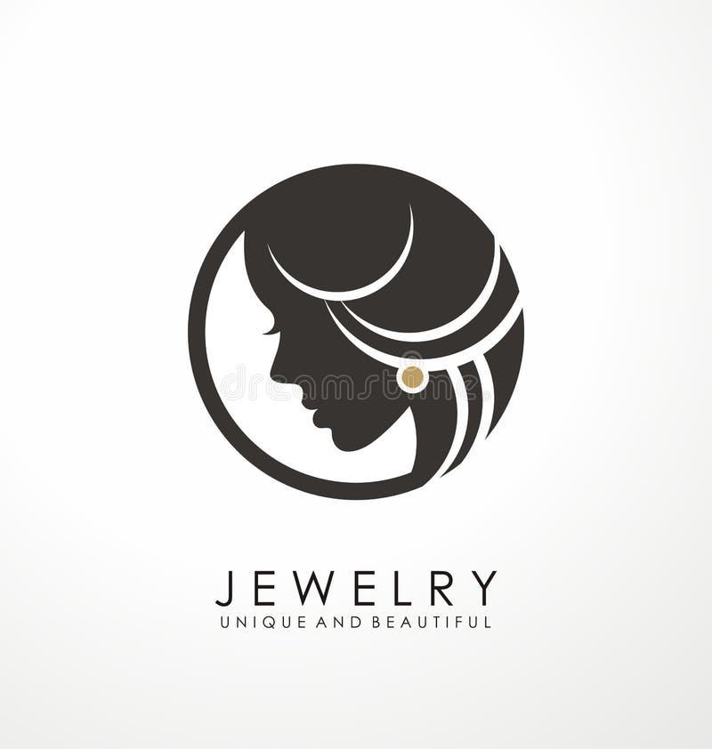 Projeto do s?mbolo do logotipo da joia com mulher bonita ilustração do vetor