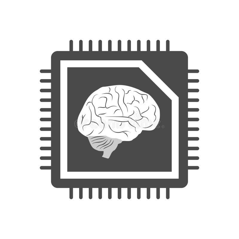 Projeto do s?mbolo futurista da tecnologia do c?rebro ilustração do vetor