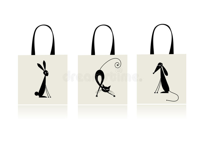 Projeto do saco de compra - coelho, gato e cão ilustração royalty free