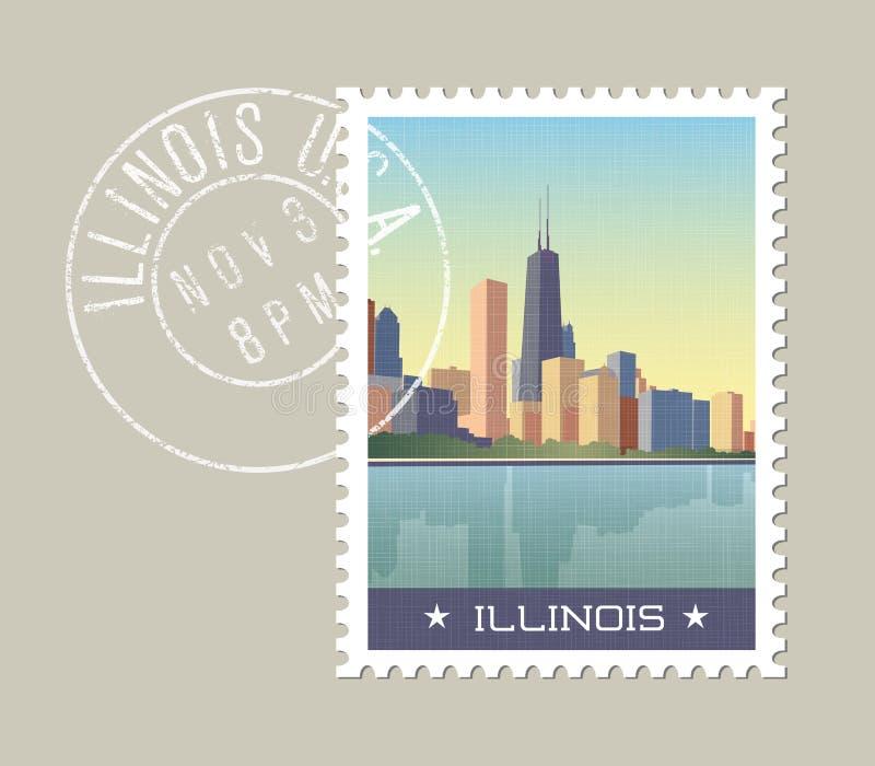Projeto do selo postal de Illinois ilustração stock