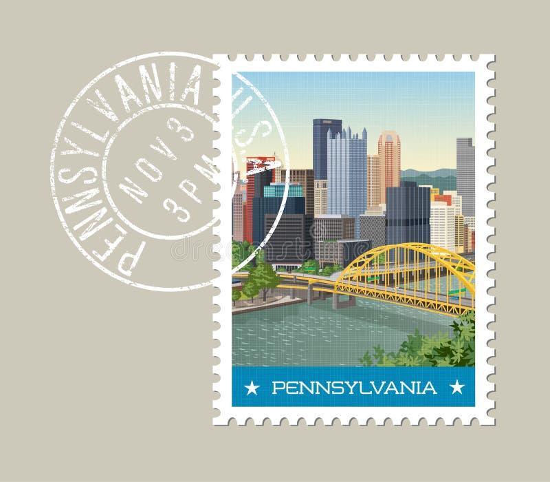 Projeto do selo postal de Pensilvânia Ilustração do vetor ilustração stock