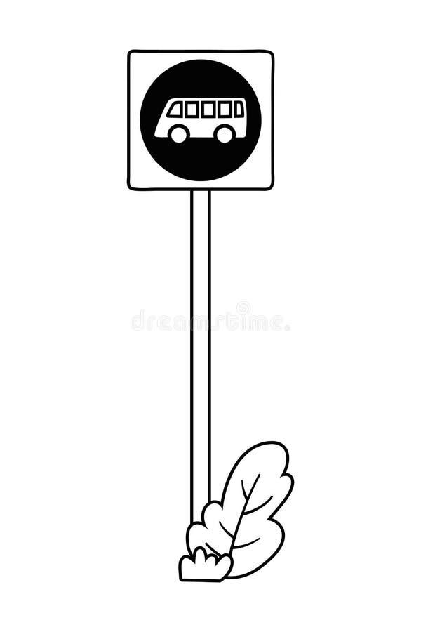 Projeto do sinal de estrada da parada do ônibus ilustração stock