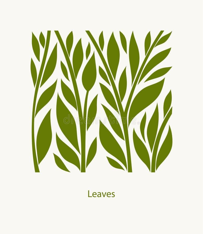 Projeto do sumário da etiqueta das folhas Ícone quadrado Logo Garden bonito ilustração royalty free