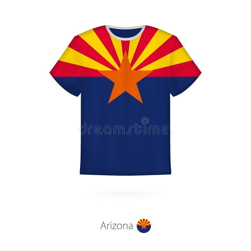 Projeto do t-shirt com a bandeira do Arizona U S estado ilustração stock