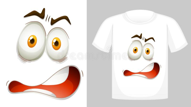 Projeto do t-shirt com o gráfico na parte dianteira ilustração stock