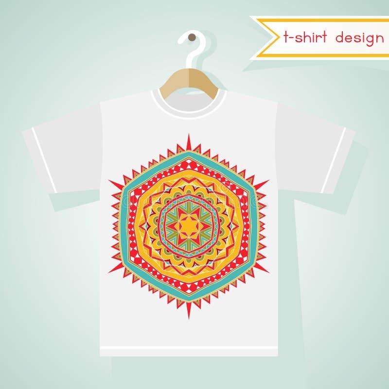 Projeto do t-shirt com teste padrão tribal brilhante ilustração stock