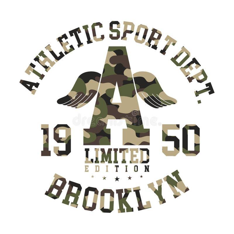 Projeto do t-shirt da camuflagem Gráfico bonito atlético da camisa com teste padrão militar no estilo da faculdade ou do time do  ilustração royalty free