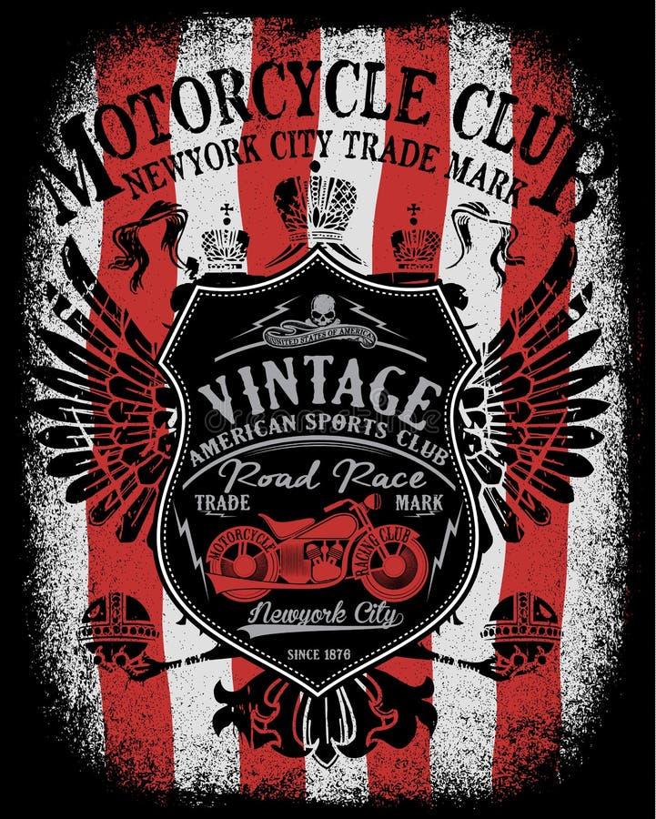 Projeto do t-shirt da etiqueta da motocicleta com ilustração ilustração do vetor