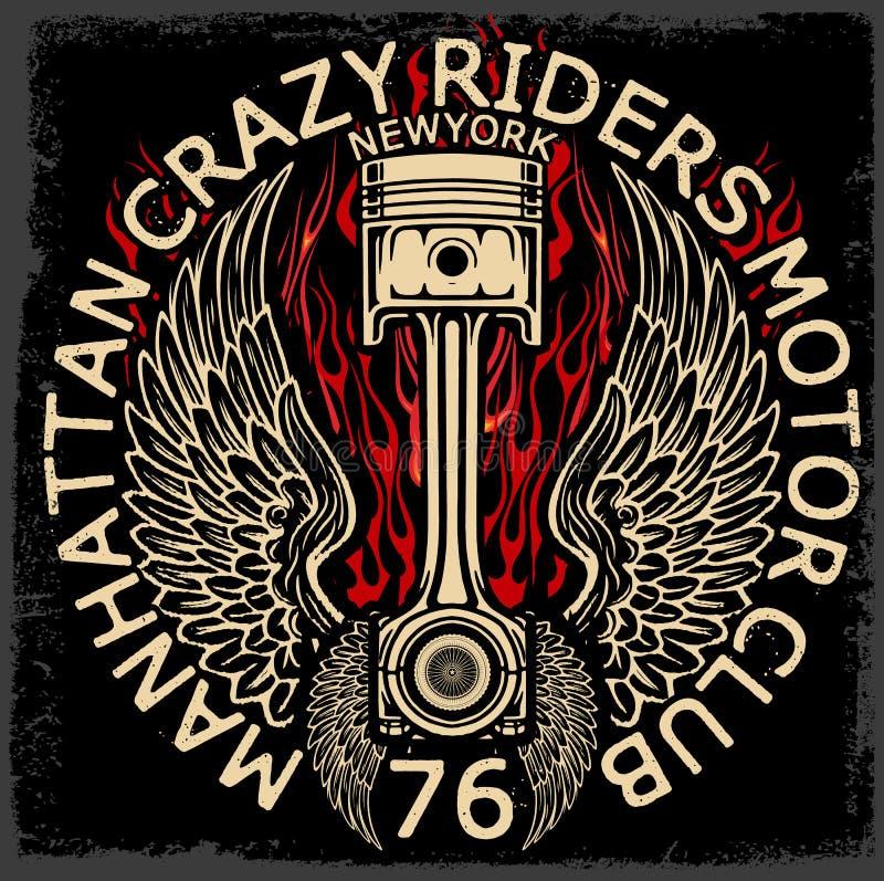 Projeto do t-shirt da etiqueta da motocicleta com ilustração da costeleta feita sob encomenda ilustração stock
