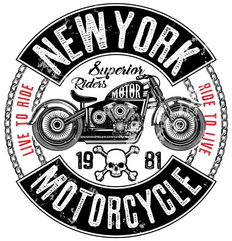 Projeto do t-shirt da etiqueta da motocicleta com ilustração da costeleta feita sob encomenda ilustração do vetor