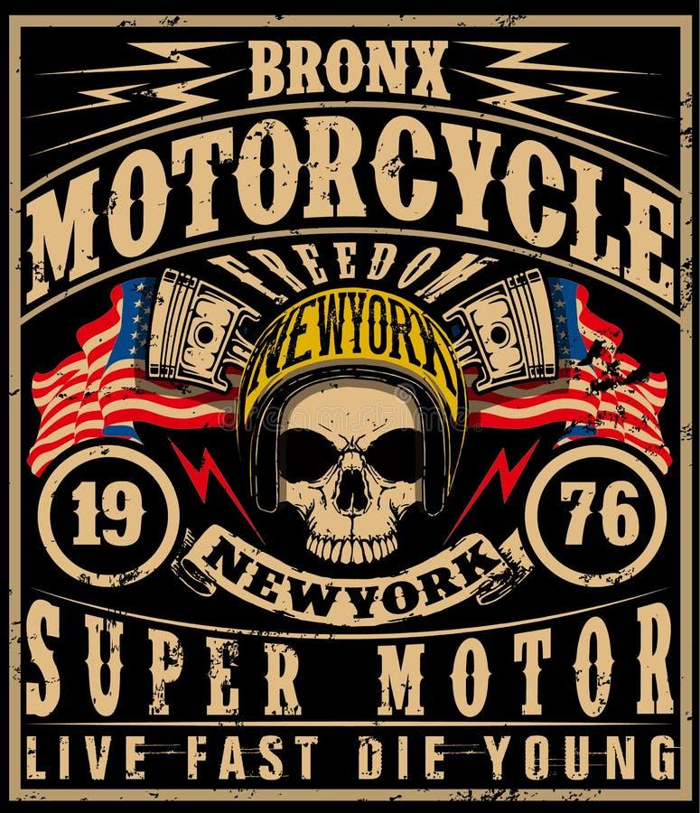 Projeto do t-shirt da etiqueta da motocicleta com ilustração do costume ilustração stock