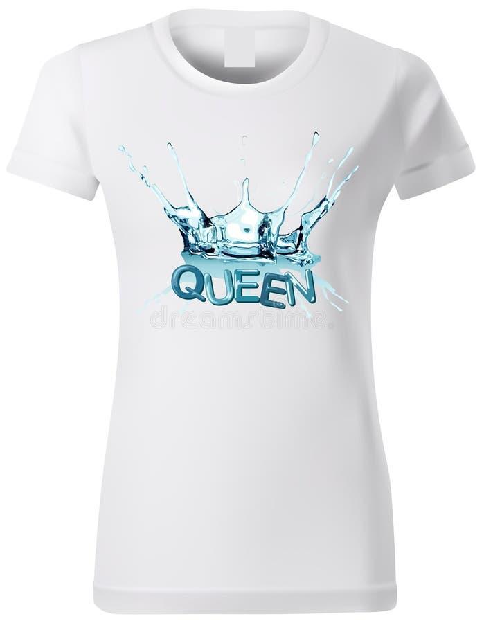 Projeto do t-shirt da mulher com respingo da água ilustração stock