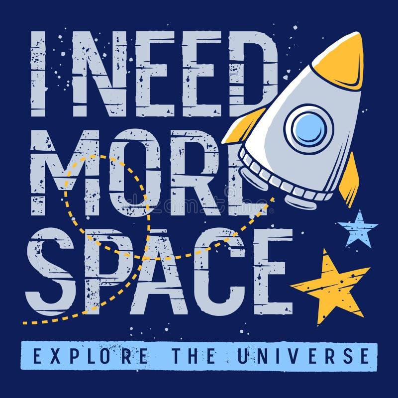Projeto 003 do t-shirt das crianças do espaço ilustração royalty free