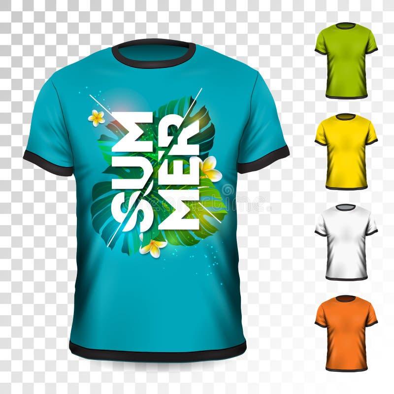 Projeto do t-shirt das férias de verão com folhas e a flor tropicais no fundo transparente Molde do projeto do vetor para ilustração do vetor