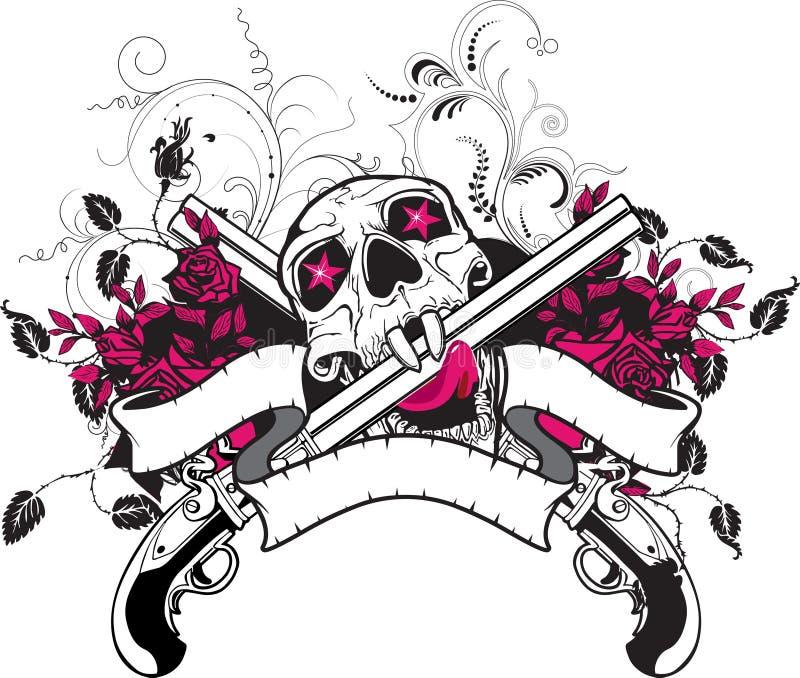 Projeto do t-shirt das rosas dos injetores do crânio ilustração royalty free
