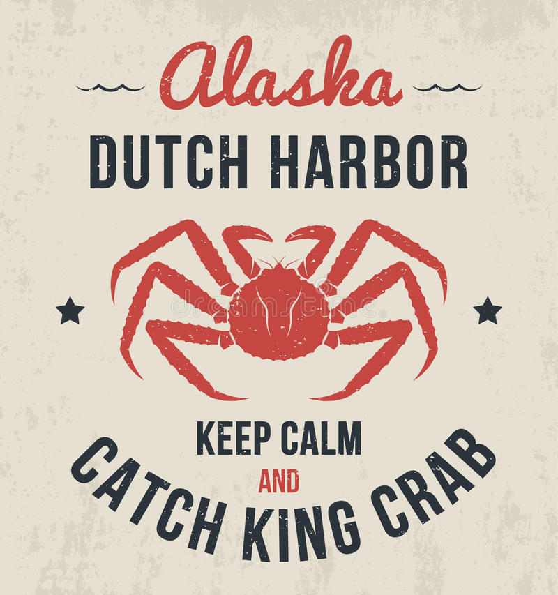 Projeto do t-shirt de Alaska, cópia, tipografia, etiqueta com caranguejo de rei ilustração do vetor