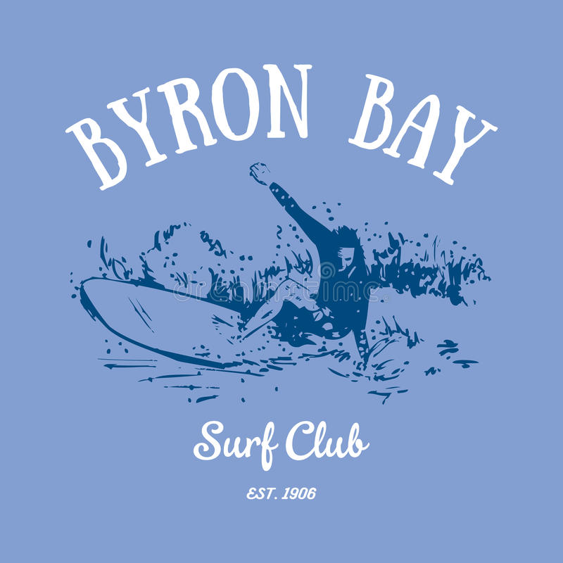 Projeto do t-shirt de Byron Bay Surf Club ilustração do vetor