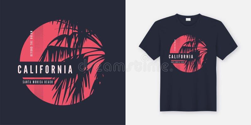 Projeto do t-shirt de Califórnia Santa Monica com palmeira ilustração do vetor