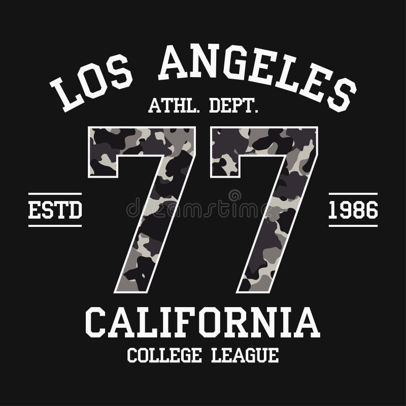 Projeto do t-shirt de Los Angeles, Califórnia com textura da camuflagem Gráficos da tipografia do LA para o t-shirt com slogan Có ilustração royalty free