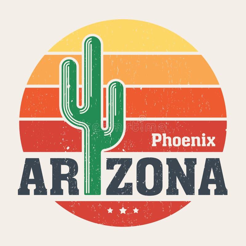 Projeto do t-shirt do Arizona, cópia, tipografia, etiqueta com saguaro ilustração do vetor