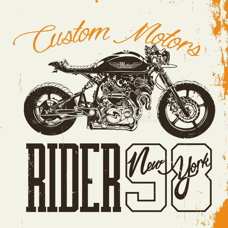 Projeto do t-shirt do cavaleiro da motocicleta ilustração stock