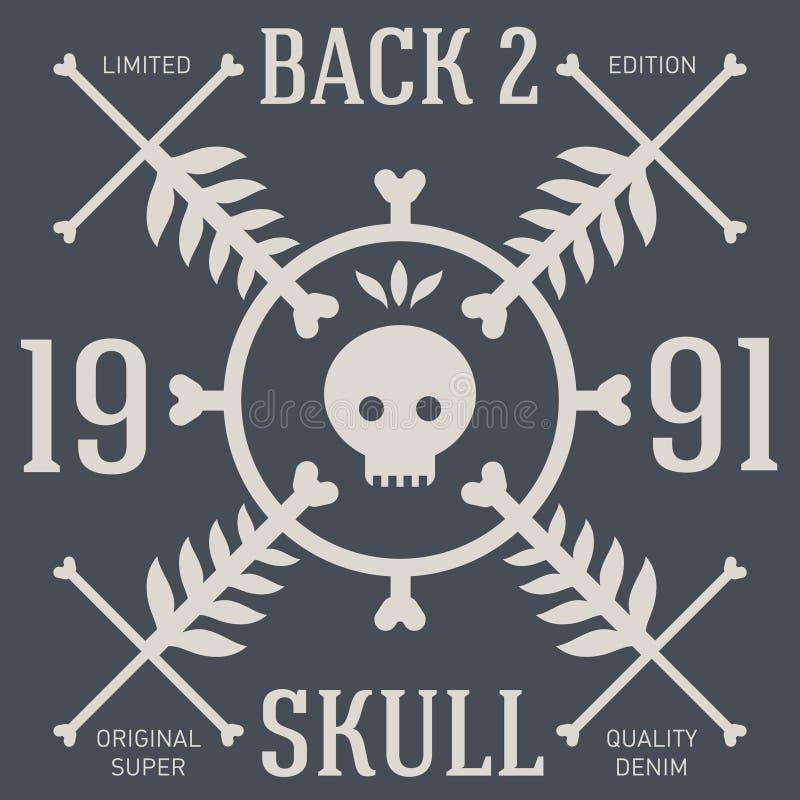 Projeto do t-shirt do crânio Cópia original do T Gráficos de vetor ilustração royalty free