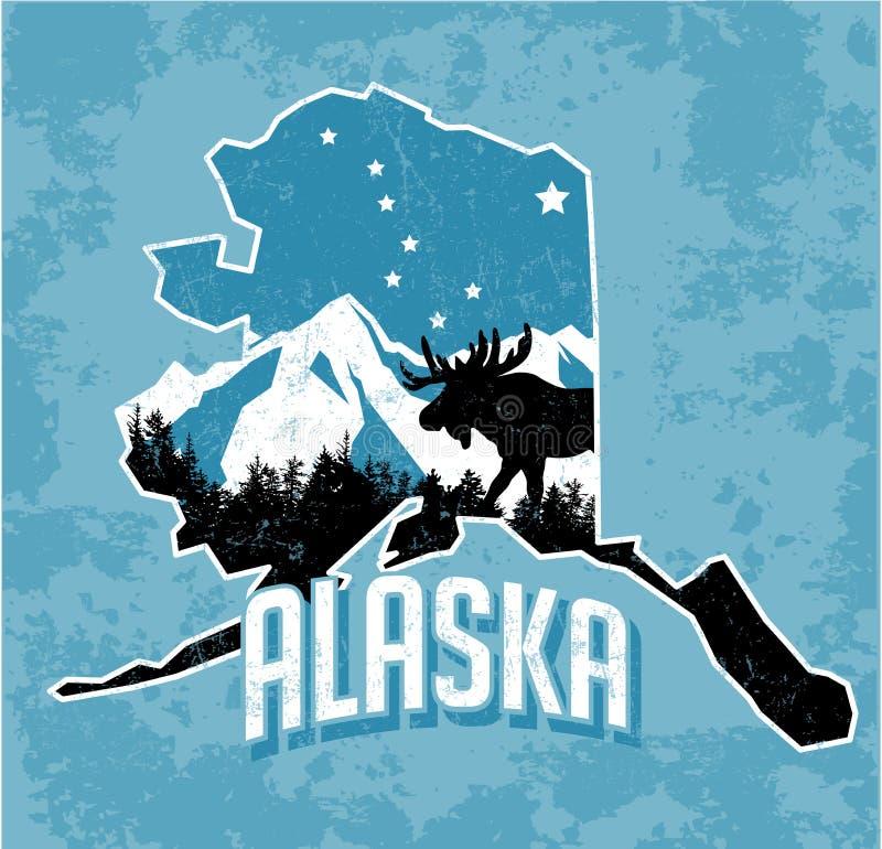 Projeto do t-shirt do gráfico de vetor de Alaska no estilo retro ilustração do vetor