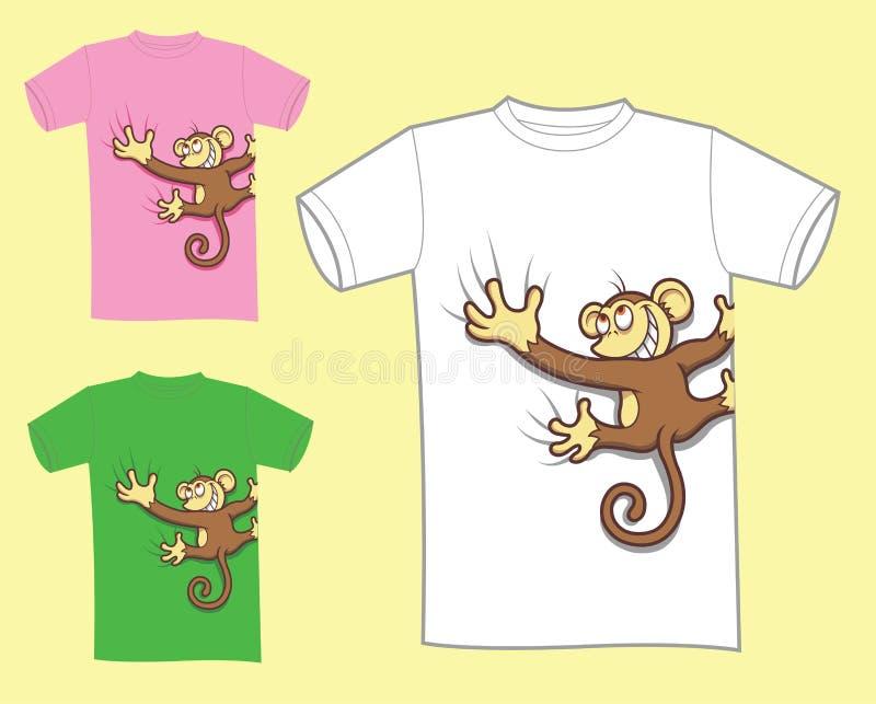 Projeto do t-shirt do macaco ilustração do vetor