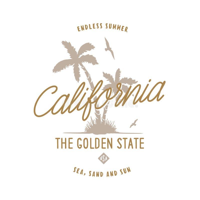 Projeto do t-shirt do Golden State de Califórnia Ilustração do vintage do vetor ilustração stock