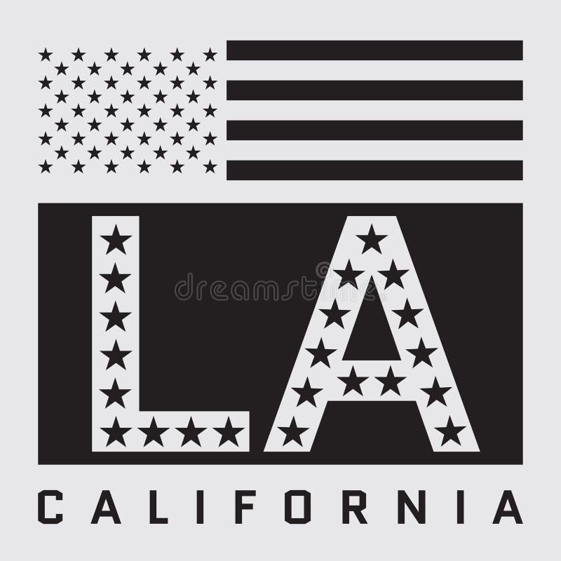 Projeto do t-shirt do LA ilustração royalty free