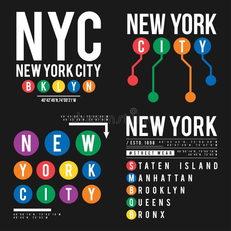 Projeto do t-shirt no conceito do metro de New York City Tipografia fresca com as cidades de New York para a cópia da camisa Grup ilustração do vetor