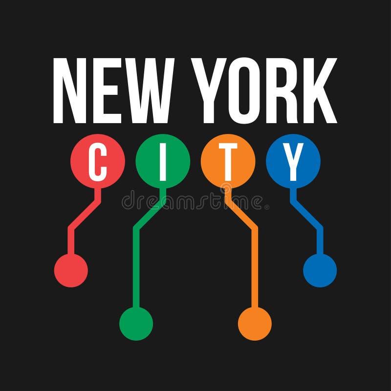 Projeto do t-shirt no conceito do metro de New York City Tipografia fresca com o mapa abstrato do metro de New York para a cópia  ilustração royalty free