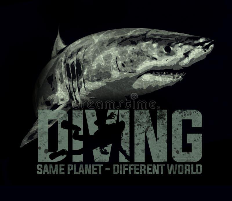 Projeto do t-shirt do oceano do mar do mergulhador de mergulhador do mergulho do tubarão ilustração royalty free