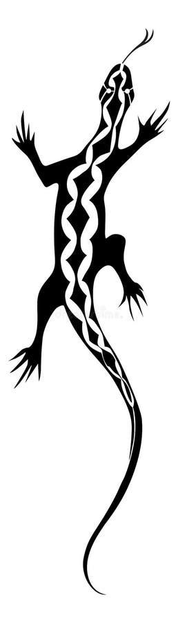 Projeto do tatuagem do lagarto ilustração stock