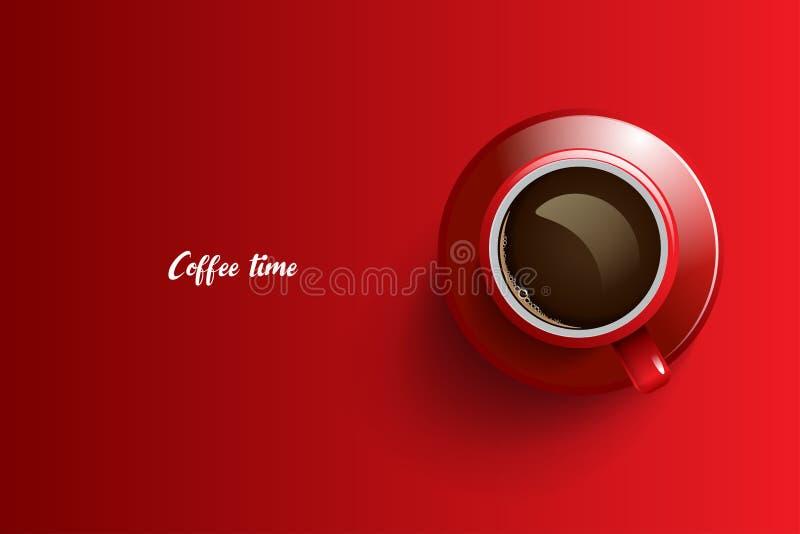 Projeto do tempo do café sobre o fundo vermelho imagem de stock